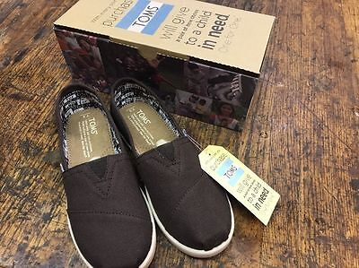 Toms Size Youth  Classic Chocolate Canvas Brown Shoes Kids New NIB