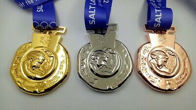 2002 Salt Lake Olympic Medals Set with Ribbons & Display Stands !!!