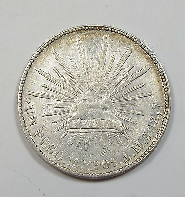 BARGAIN 1901-Mo AM MEXICO Silver 1-Peso Coin ALMOST UNCIRCULATED