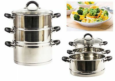 Royal Cuisine 24CM 3 Tier Stainless Steel Food Steamer Induction Base Glass Lid