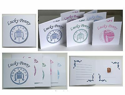 Lucky Penny Card Wallet Gift One Penny 1p Birthday Wedding Favours Blue Pink New
