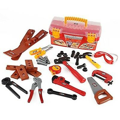 Power Tools Construction Tool Box for Kids with 31 Pcs Pretend Play Tools, New