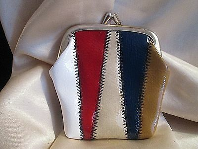 VINTAGE Kiss Clasp CHANGE-COIN PURSE Hippie 5-Color Block HAND MADE HONG KONG