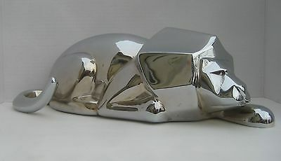 """African Lion Figure Stainless Steel or Chrome Large Heavy 17"""" Long Figurine"""