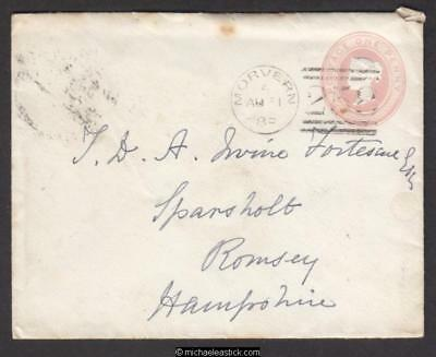 Great Britain 1889 pre-stamped envelope from Morvern Scotland to Romsey