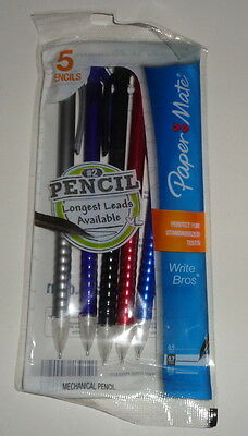 PAPER MATE, pack of 5 mechanical pencils, #2 assorted colors, 0.7mm, NEW
