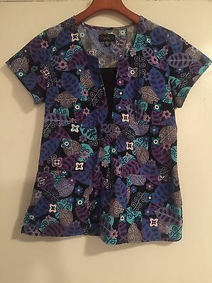 PEACHES size XS Purple Blue Floral Leaves Womens SCRUB Top Medical