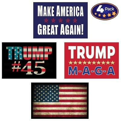 Pro Trump & American Flag Hard Hat & Helmet Stickers: 4 Decal Value Pack Gift