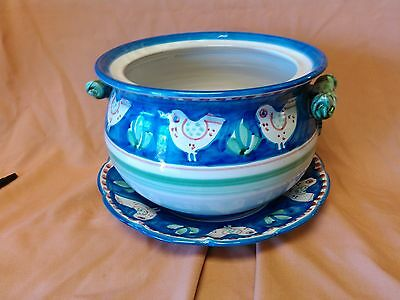 Vintage Solimene Vietri Hand Painted Italian Soup Tureen and Under Plate