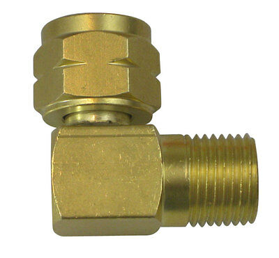 Right angle connector, 5/8-18 LH nut to 5/8-18 LH male (308671)
