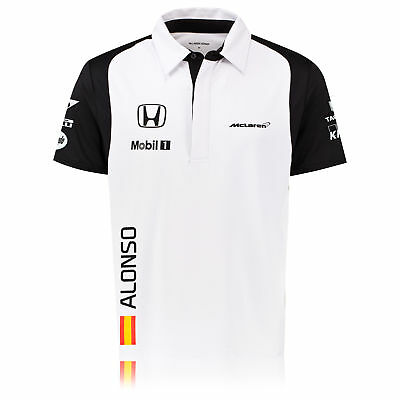 McLaren Honda Mens Fernando Alonso Team Short Sleeve Polo Shirt Tee Top White