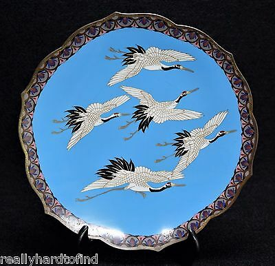 Japanese cloisonne plate Meiji period Cranes in flight