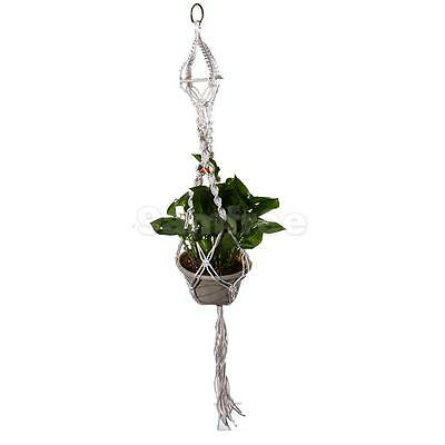 White 110cm Macrame Plant Hanger Flowerpot Holder Hanging Basket with Beads