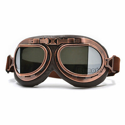 Retro Vintage Pilot Aviator Goggles Motorcycle For Harley Racer Cruiser Smoke