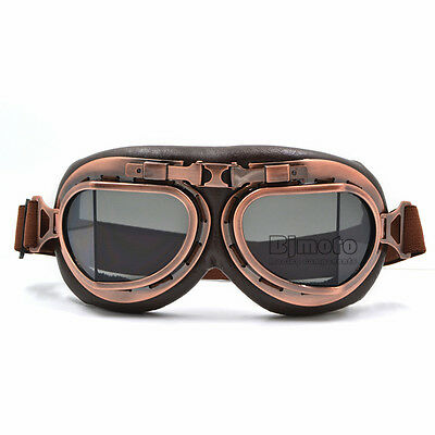 Retro Vintage Pilot Aviator Goggles Motorcycle For Harley Racer Cruiser Scooter