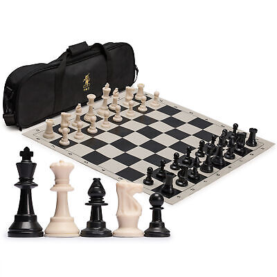YMI Tournament Roll-Up Staunton Weighted Chess Pieces Set w/ Travel Bag Black