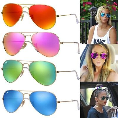 NEW Ray-Ban Aviator RB3025 Flash Green Blue Orange Pink Mirror Lenses  RRP $230