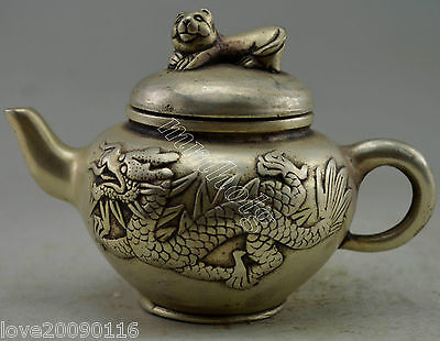 Collectible Decorated Old Handwork Silver Plate Copper Carved Dragon Tea Pot