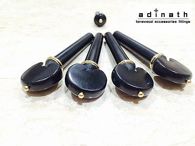 Ebony Heart Pegs & Endpin set with Gold Accents for Violin