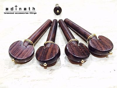 Rosewood Heart Pegs & Endpin set with Gold Accents for Violin & Viola