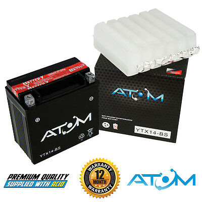 Atom YTX14-BS YTX14BS Motorcycle Battery Suzuki GSX1400 02-05
