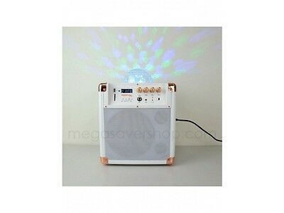 Compact Portable Wireless Loudspeaker White Built-in Active Amplifier Disco Ball
