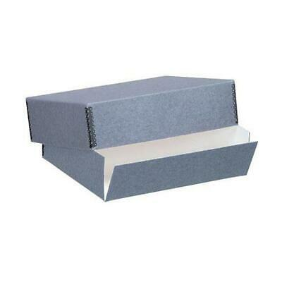 "Lineco 22x30"" Archival Print Storage Box, Drop Front Design, 3"" Deep, Blue/Gray"