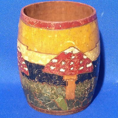 Antique WOODEN RUSSIAN POT / BEAKER Hand Painted Woodland & Toadstools - 3.75""