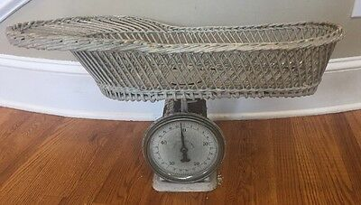 Antique JOHN CHATILLON & SONS Infant Baby Wicker Basket Scale 1940's