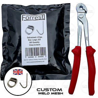 Extra large J-Clip plier + 300 clips wire mesh gabions fencing dog cage repair