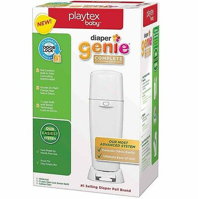 Playtex Baby Diaper Genie Complete All-In-One Diaper Disposal Pail System White