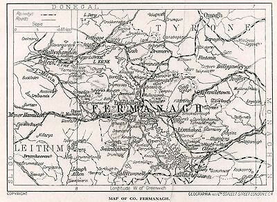 1923 map of Ireland: County Fermanagh antique ready-mounted print SUPERB
