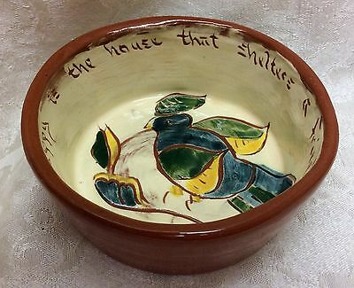 """Welden, Slip Decorated Redware Bowl """"Happy Is The House That Shelters A Friend"""""""