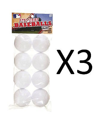 Franklin Sports Practice Balls Aero-Strike Solid Plastic Baseball 8-Pc (3-Pack)