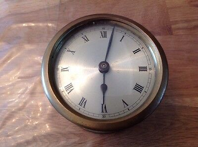 Antique Barrel Drum Clock Brass Case Winds Working Keeping Time 100mm diameter