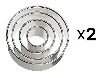 Harold Ateco Stainless Steel Round Cookie Biscuit Pastry Cutter Set Of 4 (2-Pack