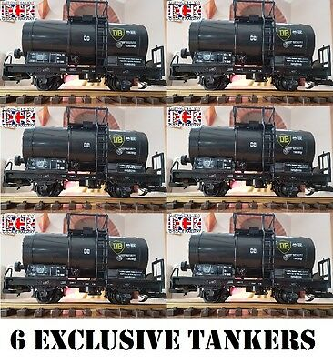 6 YES SIX G SCALE 45mm GAUGE BLACK OIL TANKER CARGO TANK ROLLING RAILWAY TRAIN