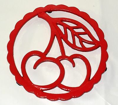 NEW~Cast-Iron Functional Trivet or Wall Hanging RED CHERRIES Design