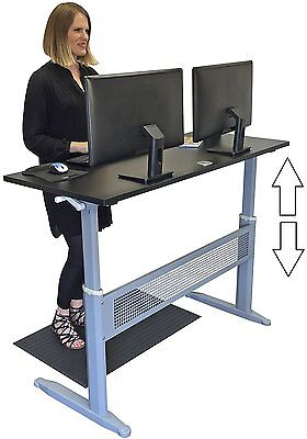 """Standing Desk 55"""" Long Black/Silver Easy Crank Adjust to 46"""" Height Office Work"""