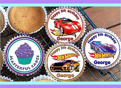 24 Personalised Hotwheels  Cupcake Topper Rice, Wafer, Icing Or Wafer Precut