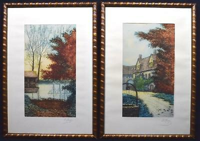 Pair of Signed Antique French Lithographs/ Engravings, C.1900