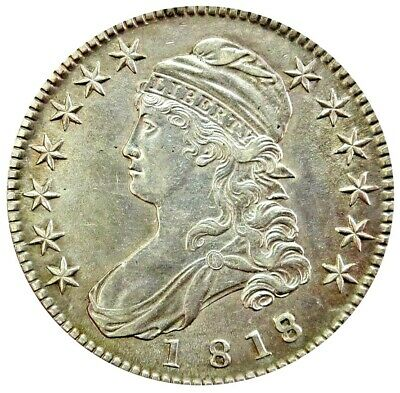 1818/7 Over Date Silver United States Capped Bust Half Dollar Au Condition