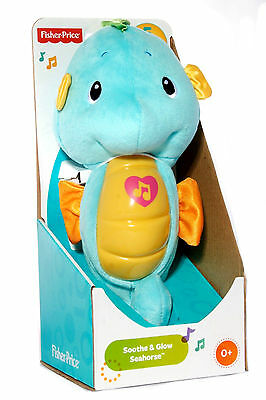 Fisher Price Soothe & Glow Seahorse Baby Lullaby Musical Light-up Plush Toy Blue