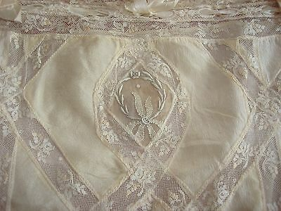Antique C1910-20 Normandy Lace Trimmed Silk Chemise Roses + Embroidery Good SZ
