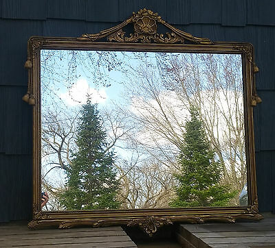 XLNT Large Antique Vintage Gold Baroque French Style Wood & Gesso Wall Mirror
