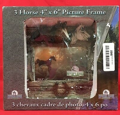 "Rivers Edge 3 Horse 4""X 6"" Picture Frame Horse Heads Photo Frame Horse Shoe"