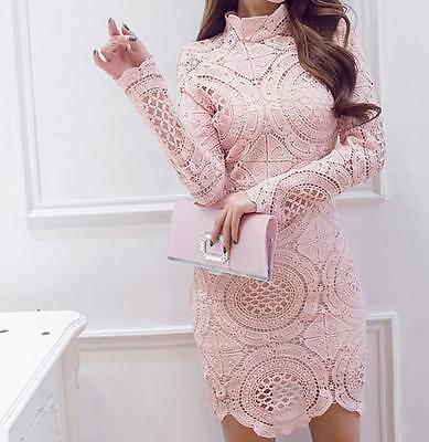 Sexy Women's Long Sleeve Slim Lace Cocktail Party Evening Short Mini Dress