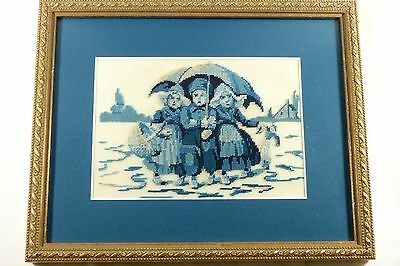Vintage Cross Stitch Finished Framed Three Dutch Children Umbrella Delft Blue