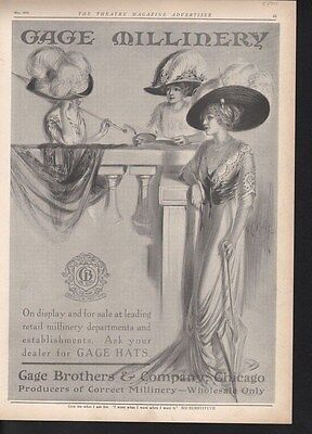 1910 Gage Hat Dress Fashion Feather Chicago Millinery -15470