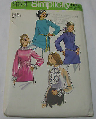 Vintage Simplicity 1970's Pattern 9124 Misses Tunic Blouses Size 10 Bust 32.5 FF